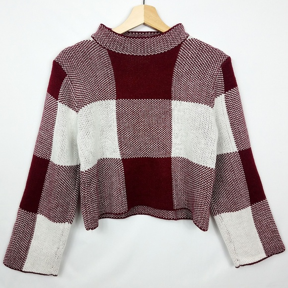 SHEIN Gingham High Neck Cropped Sweater